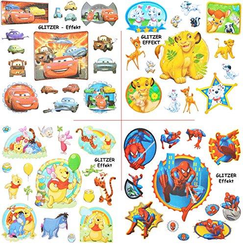 alles-meine.de GmbH 14 TLG. Set - 3-D Effekt - Glanz - Sticker / Aufkleber -  Disney Tiere - Cars - Spider-Man - Pooh  - Soft Touch - selbstklebend / auch für Textilien & als K.. (Disney Cars Scrapbook-papier)