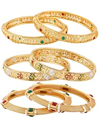Jewels Galaxy Exclusive Combo Of Gold Plated Ruby-Green & Floral Design Bangles - Combo Of 3