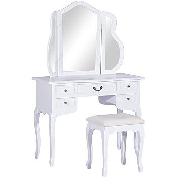 HOMCOM Wood Dressing Table Stool Vanity Set Antique Bedroom Dresser Bathroom Make-up Mirror W/Drawers White