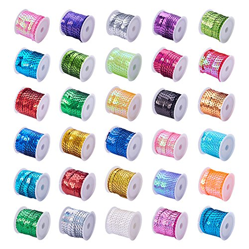 Kostüm Wettbewerb Bilder - PandaHall Elite & reg 30rolls Umwelt Kunststoff Paillette Perlen, Paillettenrolle, Mischfarbe, 6mm; ungefähr 5 m/Rolle