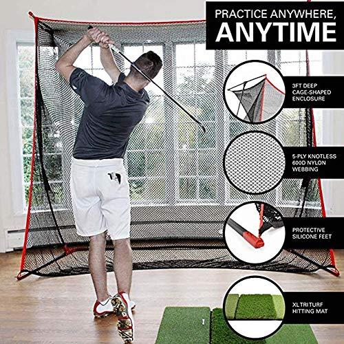 HipHopSport 10x7ft Golf Driving Netz, One Pitch Return, Replacement Pitchback Net, Ball Return Training Screen