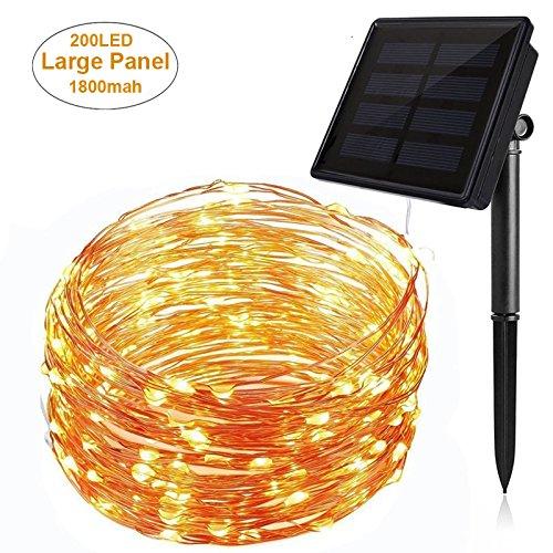 Solarleuchte 200 LED Beleuchtung [22 M] Garten Solarlampe Warmweiß Außen Solar Betriebene Außenleuchte, Wandleuchte, Energiesparende Wandleuchte Wegleuchte