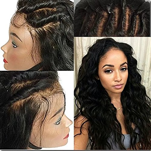 Full Lace Wig For Black Women Brazilian Ombre Wigs Lace Wigs Loose Body Wave 180% Density Full Lace Human Hair Wigs with Baby Hair(22 inch,1B)