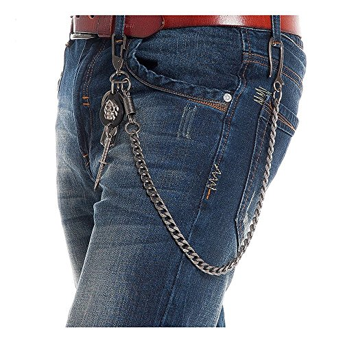 Preisvergleich Produktbild GoGou Fashion-Hose-Hosen-Mappen-Schlüsselanhänger Punkrock-Schädel-Dolch Hip Hop Bauchkette