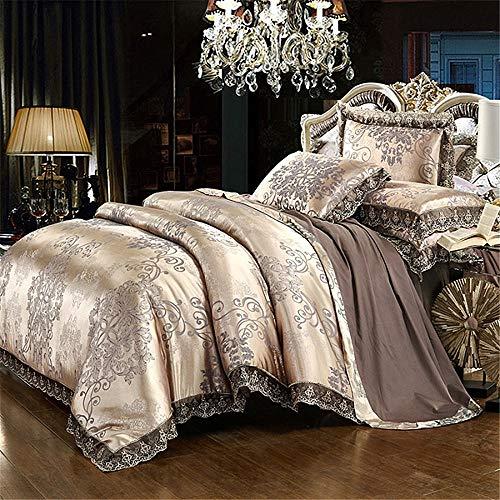 RENYAYA Luxuriöses Jacquard Bedding Set Queen Bed Silk Cotton Duvet Cover Lace Satin Bed Sheet Pillowcases (König Cotton Bed Sheet Sets)