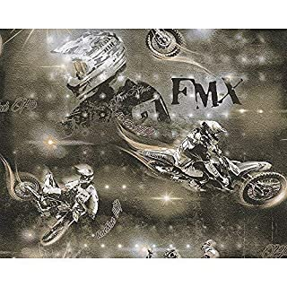 AS Creation Motocross Motorbike Stunt Photo Pattern Childrens Wallpaper (Grey Bronze 306562)