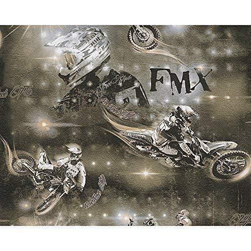 AS Creation Motocross Motorrad Stunt Foto Muster Kinder Tapete - Grau Bronze 306562