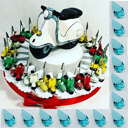 Bomboniere vespa scooter motocicletta italia ideali per cresima, comunione, battesimo (torta con 20 vespe sidecar clip+ centrale salvadanaio+confetti)