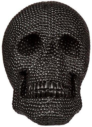 Schwarzer Deko-Totenkopf mit Glassteinbesatz