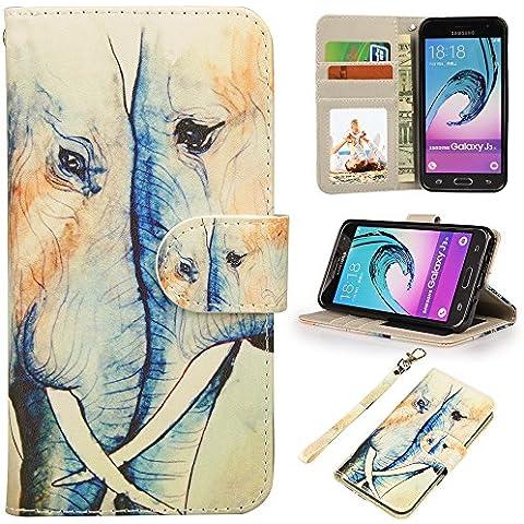 MyArmor Premium PU Custodia in pelle Flip Cover con Card Slot e Supporto per Samsung Galaxy J3(2016)/Express Prime/AMP Prime Elephant