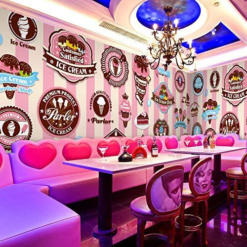 Handgemalte rosa leckeres Eis benutzerdefinierte Fototapete Restaurant Dessert Shop Hintergrund Tapeten 350x256cm