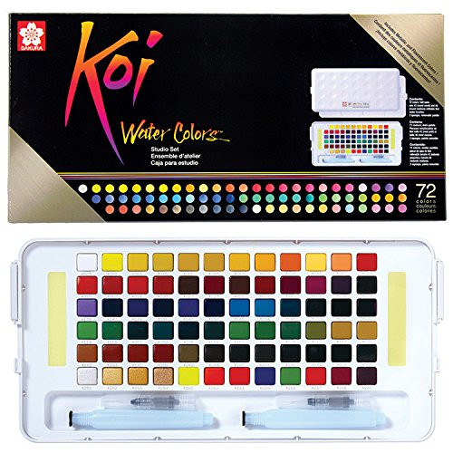 Koi Water Colors Studio Sketch Box W/2 Brushes - 72 Colors-Assorted Colors -