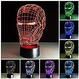 LED-Nachtlicht, dekoratives 3D-Design in Bärenform, 7 Farben, erzeugt optische Illusion, Aktivierung per Druckknopf Art Deco Hero Man