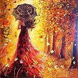 Malen nach Zahlen Kit, Diy Ölgemälde Zeichnung romantische Mädchen zu Fuß unter den Bäumen Leinwand mit Pinsel Weihnachtsdekorationen Dekorationen Geschenke - 16 * 20 Zoll mit Rahmen