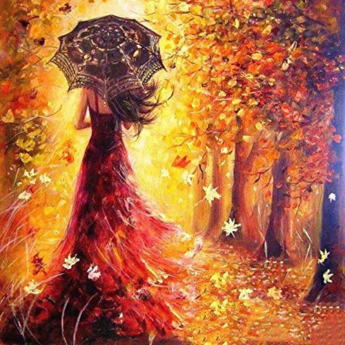 Peinture par numéro Kit, Diy peinture à l'huile dessin romantique fille marchant sous les arbres Toile avec des pinceaux décor de Noël décorations cadeaux - 16 * 20 pouces sans cadre