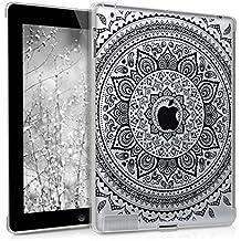 kwmobile Funda para Apple iPad 2 / 3 / 4 - Smart Cover compatible con Backcover - para tablet de TPU silicona - Carcasa para tableta Diseño Sol hindú en negro transparente