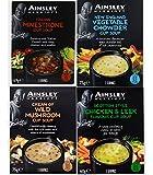 Ainsley Harriott Cup Soup 4 box Multi Variety Pack 3 Sachets each of Chicken & Leek,Italian Minestrone, Vegetable Chowder, Wild Mushroom Instant Snack