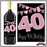 Eternal Design Flaschenetikett zum 40. Geburtstag Wein... pink glitter