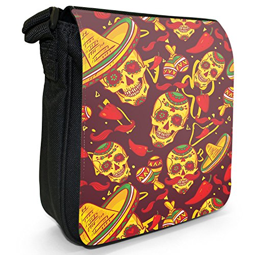 fe mit Sombreros & Maracas Kleine Schultertasche aus schwarzem Canvas (Erwachsene Sombrero)