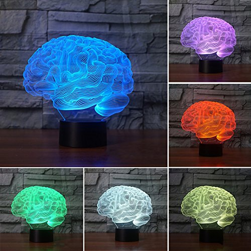 Goodtimes28 3D Panel Brain Acryl USB Ladekabel Colorful LED Nachtlicht Nachttisch Dekor-Lampe ()