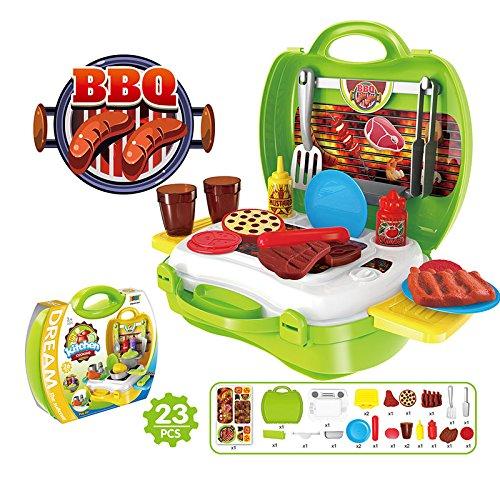 Kinder Mini Kunststoff Koffer Spielzeug spielen Arzt / Küche / Mode / Grill / Pizza / Kasse / Tools / Dinosuar Set für Pretend Play