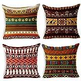 HuifengS Leinen Überwurf Kissen Kissenbezüge Kissenbezüge African Style Deko für Sofas Betten Stühle Kissenbezug, quadratisch, 4Stück 45,7x 45,7cm