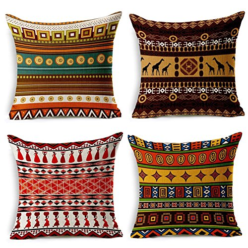 HuifengS lino copriletto cuscino copre piazza federa decorativa in stile africano per divani sedie cuscino set di 4letti, 45,7x 45,7cm