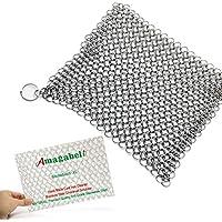Amagabeli Detergente in ghisa XL 20,3 x 15,2 cm massima 316L acciaio inox Chainmail scrubber