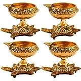 Hashcart Set Of 4 Handmade Indian Puja Brass Oil Lamp - Diya Lamp Engraved Design Dia With Turtle Base