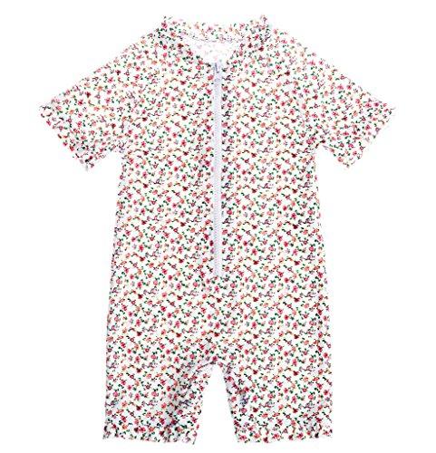 CharmLeaks Baby - One Piece Kinder Badeanzug für Mädchen Allover Blumen Print UV-Schutz 50+ Blümchen 2-3 Jahre (Reißverschluss Blumen-print)