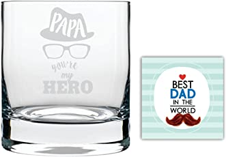 YaYa cafe Hero Papa Dad Whiskey Glass for Dad