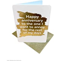 Funny Anniversary Card | Cheeky Humorous Joke | for Him Her Partner | Blank Greetings Card | by Brainbox Candy (Anniversary Annoy)