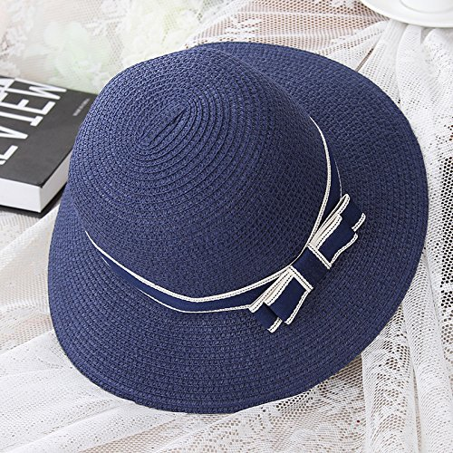 The Summer Vacation Travel Hat Lady All-Match Fisherman Hat Outdoor Beach Sun Hat Beach Hat,The Butterfly Knot - Dark Blue,Child Funds