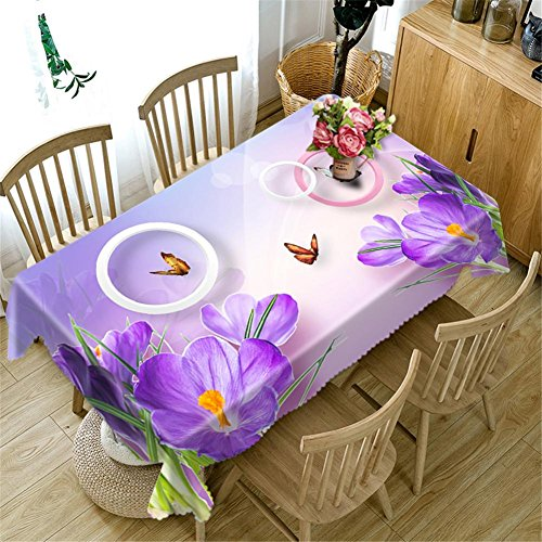 Nappe 3D Purple rose fleurs Impression Rectangulaire Anti-poussière Décoration Table Top Cover , 1 , b