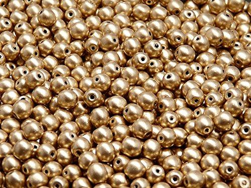 100 Stück 4mm Tschechische Druckperlen Rund, Silky Pale Gold -