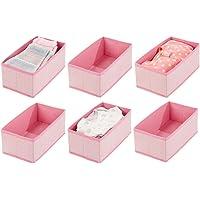 mDesign corbeille de rangement pour bébé (lot de 6) – box de stockage en polypropylène pour produits de bébé, couettes…