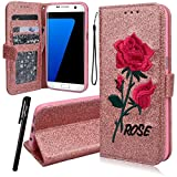 WE LOVE CASE Samsung S7 Edge Wallet Case, Premium Quality Embroidery Leather Cover with Card Holder Kickstand and Magnetic Closure, Case with Card Slots Built Stand Floral Rose Pattern Folio Flip Foldable Book Feature Protective Case for Samsung Galaxy S7 Edge - Rose Gold