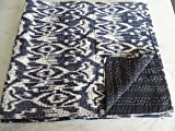 Tribal Asian Textiles IKAT Print King Size Kantha Quilt , Kantha Blanket, Bed Cover, King Kantha bedspread, Bohemian Bedding Kantha Size 90 Inch x 108 Inch 12