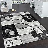 Alfombra De Diseño Noble Cuadros De Pelo Corto En Gris Crema Negro Moteado , Grösse:160x230 cm