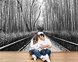 Bilderdepot24 Fotomural Bosque de bambú en Arashiyama, Kyoto - Japón - Blanco y Negro 300x200 cm - Directamente Desde el Fabricante