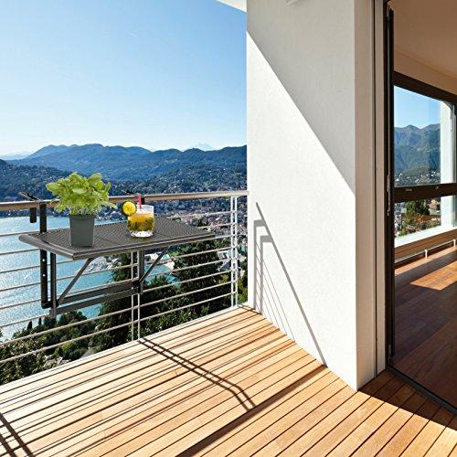 Balkonhängetisch Toulouse Eisengrau 60 x 40 x 56 cm