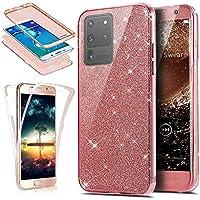 Surakey - Carcasa de silicona transparente para Samsung Galaxy S20 Ultra Glitter, oro rosa