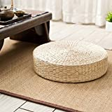 Tapis de pouf de sol, fabriqué à la main, respectueux de l'environnement, rembourré en paille tricotée, coussin de sol tissé à la main, coussin de sol en peluche de maïs free size blanc