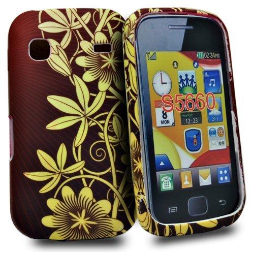 Phonedirectonline - Cover in silicone per Samsung Galaxy Gio S5660, motivo fiore, marrone