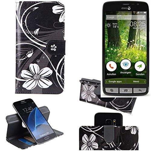 K-S-Trade Schutzhülle Doro Liberto 825 Hülle 360° Wallet Case Schutz Hülle ''Flowers'' Smartphone Flip Cover Flipstyle Tasche Handyhülle schwarz-weiß 1x