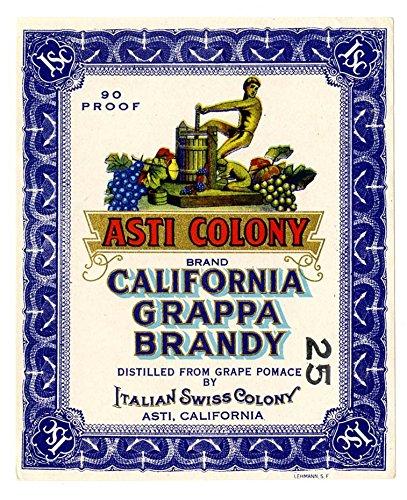 POSTER A3 Wine label, Italian Swiss Colony, Asti Colony Brand California Grappa Brandy