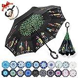 ZOMAKE Reversion Regenschirm, Innovative Schirme Double Layer Winddicht Regenschirm Freie Hand Taschenschirm inverted Stockschirme mit C Griff für Reisen und Auto Outdoor di (Reisender)