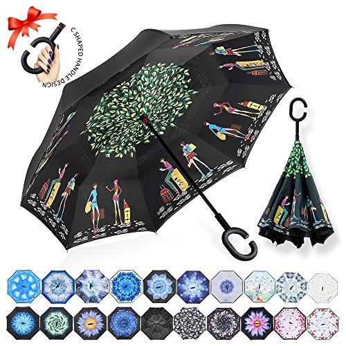 ZOMAKE Parapluie Inversé,Parapluie Canne,Double Couche Coupe-Vent, Mains Libres poignée en Forme C, Idéal pour Voiture et Voyage (Voyageur)