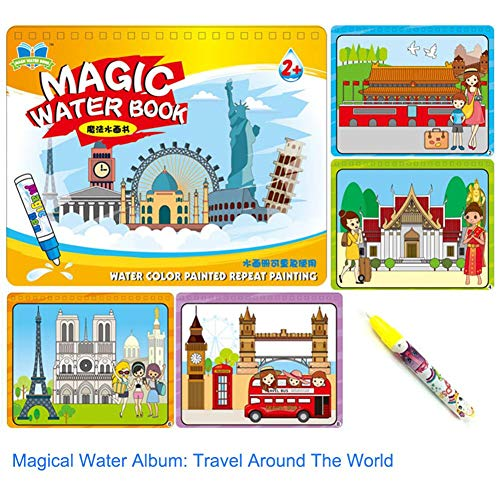 Wattfr Voyage Aqua Doodle Reusable Water-Reveal Coloring Books Activity Pads Aqua Drawing Painting Travel Toy Kits With Bonus Water Pens For Kids