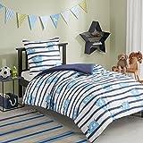 Renforcé Kinder Bettwäsche Set 2-teilig mit Monster Motiv gestreift Bettbezug Kissenbezug 100% Baumwolle Junge Kinderbett blau (135x200 + 80x80cm)